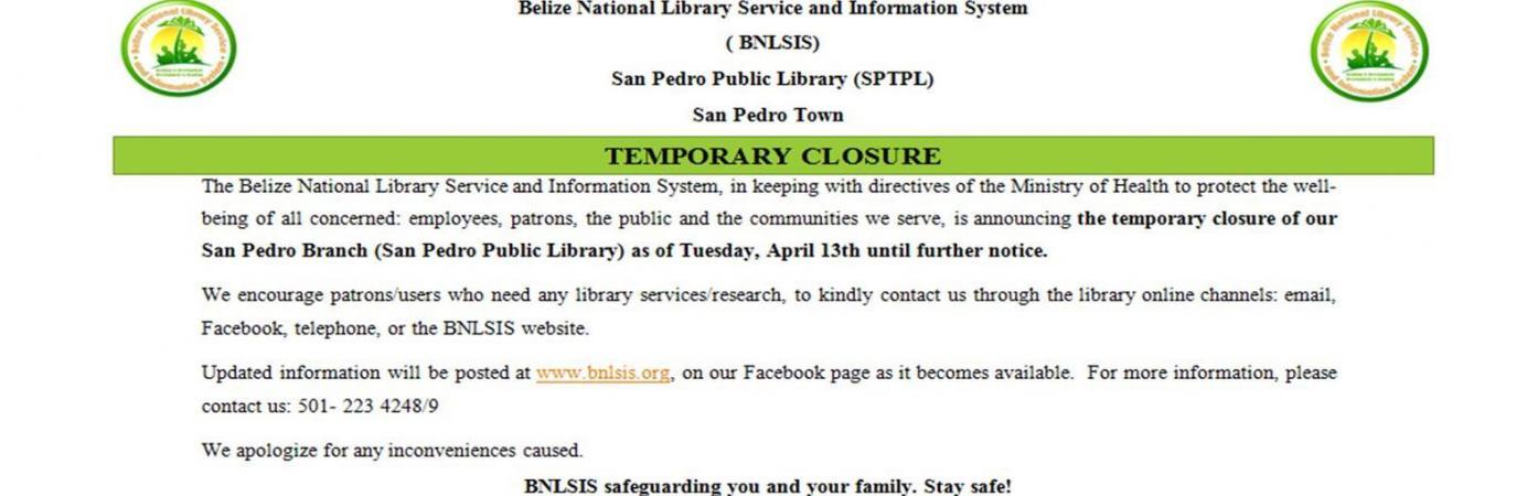 San Pedro temporary Closure